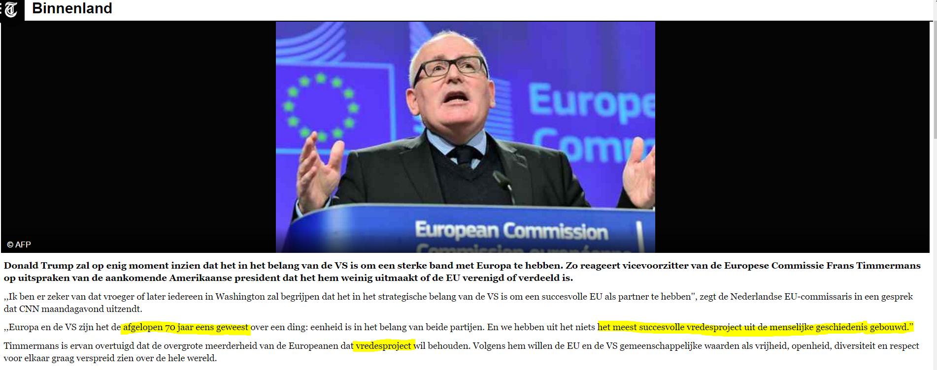 Gevaarlijk revisionisme, Timmermans ontkent impliciet dat Europa betrokken is geweest bij talloze oorlogen , intern en extern